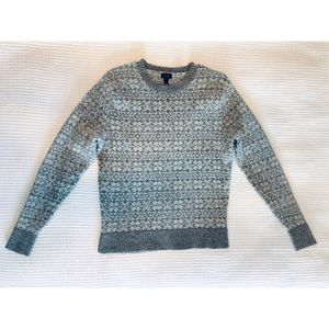 J Crew Fair Isle Lambswool Crewneck Sweater Grey